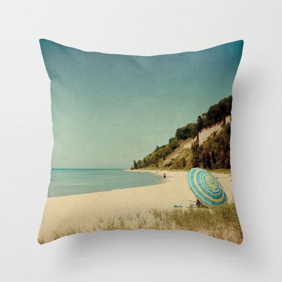 Blue Beach Umbrella Throw Pillow