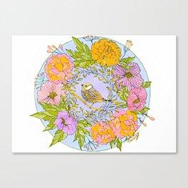 Spring Chickadee in Flowery Woodland Wreath Canvas Print