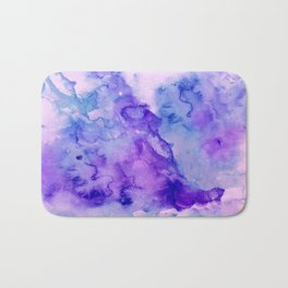 Peacock purple lavender hand painted bright abstract watercolor wash Bath Mat