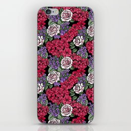 Chevron Floral Black iPhone Skin