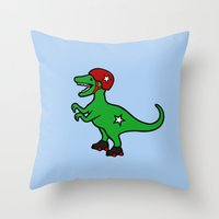 roller derby Throw Pillows featuring Roller Derby Velociraptor by Jez Kemp