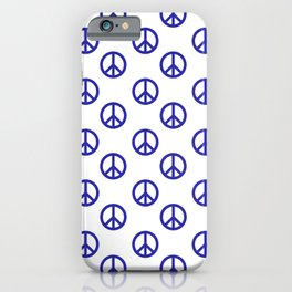 Peace (Navy Blue & White Pattern) iPhone Case
