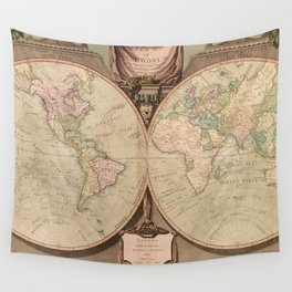 Vintage Map of The World (1808) Wall Tapestry