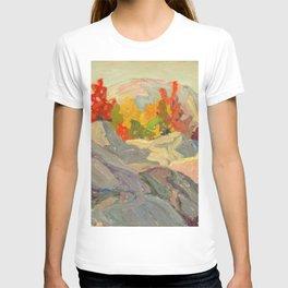 Canadian Landscape Oil Painting Franklin Carmichael Art Nouveau Post- Foliage against Grey Rock 1920 T-shirt