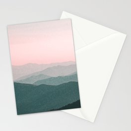 Dreamy mountains and pink sky. Stationery Cards
