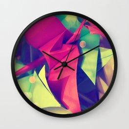Senbazuru | pink and green Wall Clock