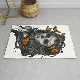 Sugar Skull Tattoo Girl with Butterflies Rug