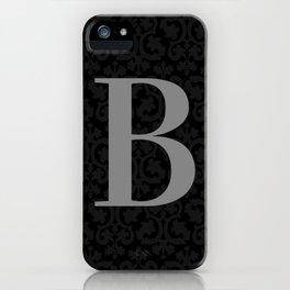 Modern Black Grey Damask Letter B Monogram iPhone Case
