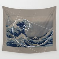 hokusai Wall Tapestries featuring Hokusai Meets Fibonacci by Vi Sion