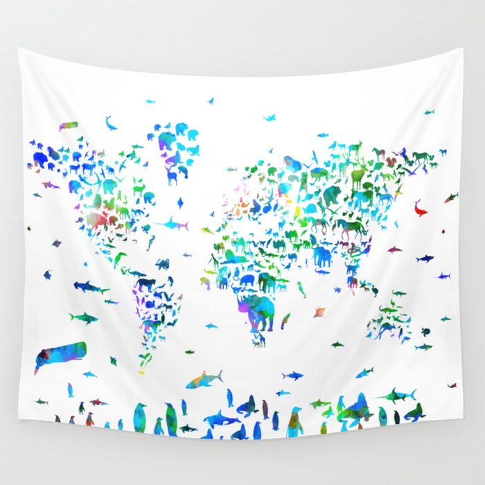 World map animals collage wall tapestry by bekimart society6 world map animals collage wall tapestry gumiabroncs Gallery