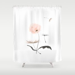 Sweet dandelions in pink - Flower watercolor illustration with glitter Shower Curtain