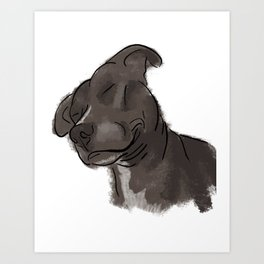 Pitbull Satisfied Art Print