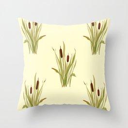 summer cattails Throw Pillow
