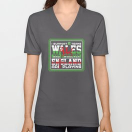 Wales And Whoever England Are Playing Unisex V-Neck