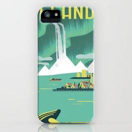 Vintage Mid Century Modern Iceland Scandinavian Travel Poster Ocean Whale Winter Village iPhone Case