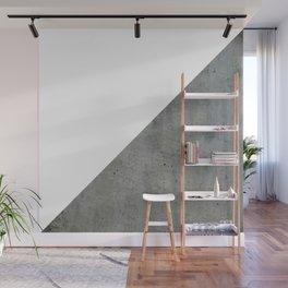 Geometrical Color Block Diagonal Concrete Vs White Wall Mural