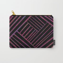 SAVANT black with bright pink and purple lines pattern Carry-All Pouch