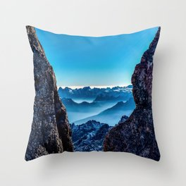 Moutain sky ice blue Throw Pillow