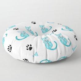 Blue Kitten Pattern Illustration Floor Pillow