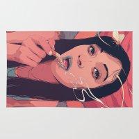 moth Area & Throw Rugs featuring Moth Queen by Conrado Salinas