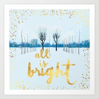 All is Bright - Winter Forest in White and Gold Art Print