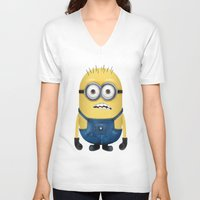 minion V-neck T-shirts featuring Minion  by Lyre Aloise