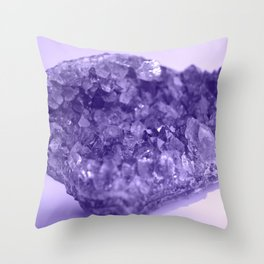 Sparkling Raw Amethyst Throw Pillow