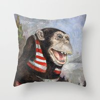 monty python Throw Pillows featuring Monty by hazael anaya