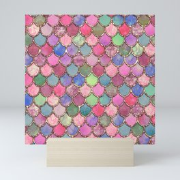 Colorful Pink Mermaid Scales Mini Art Print