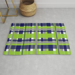 Retro Modern Plaid Pattern 2 in Lime Green, Bright Navy Blue, Gray, and White Rug