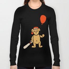 Baseball Teddy Holding Balloon Long Sleeve T-shirt