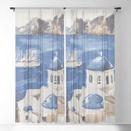 Santorini Greece Sheer Curtain