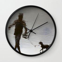 surreal walk with a dog Wall Clock