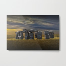 Sunset at Car Henge in Alliance Nebraska Modeled after England's Stonehenge Metal Print