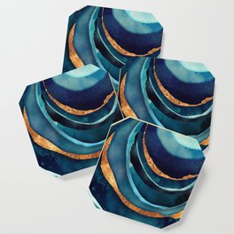 Abstract Blue with Gold Coaster