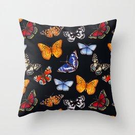 Butterflies On Black Throw Pillow