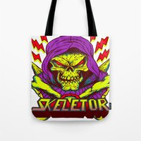 skeletor Tote Bags featuring skeletor by Vincent Trinidad