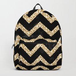 Black Gold Chevron Zigzag Pretty Pattern Backpack