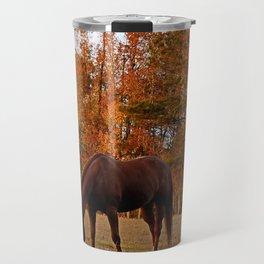 Horse Fall Days of Grazing Travel Mug
