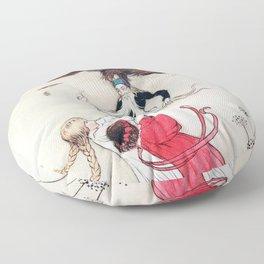 Compassionate Children Illustration Floor Pillow