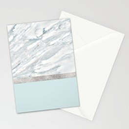 Calacatta verde - silver turquoise Stationery Cards
