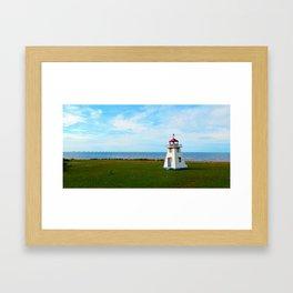 Long Bridge and Tiny Lighthouse Framed Art Print