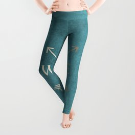Gold on Turquoise Distressed Compass Adventure Design Leggings
