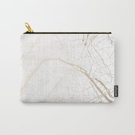Paris Gold and White Street Map Carry-All Pouch