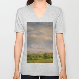 Scenic Autumn Late Afternoon in Vermont Nature Art Landscape Oil Painting Unisex V-Neck