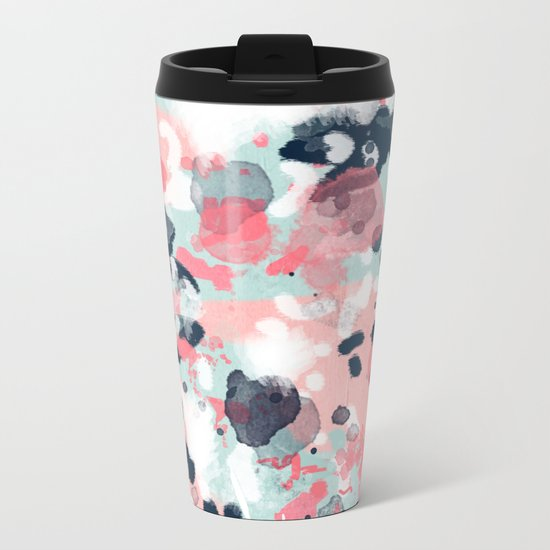 Isla - abstract painting navy mint coral trendy color palette summer bright decor Metal Travel Mug