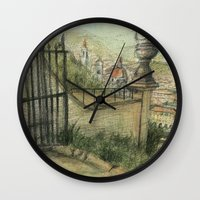italian Wall Clocks featuring Italian Garden by Emily Dwan