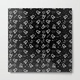Black And White Leo zodiac hand drawn pattern Metal Print