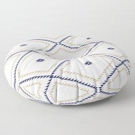 Navajo Pattern - Tan / Navy / White Floor Pillow