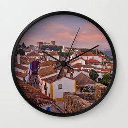 Obidos, dusk Wall Clock